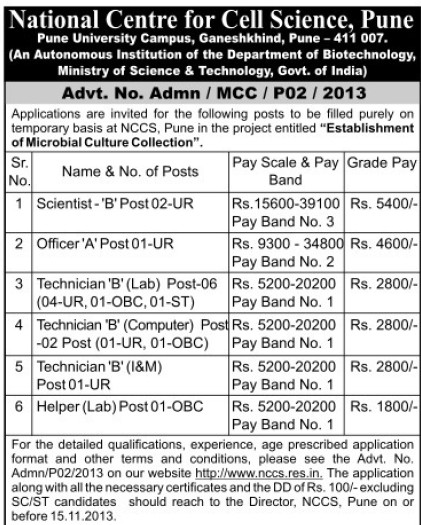 Technician and Helper (National Centre for Cell Sciences)