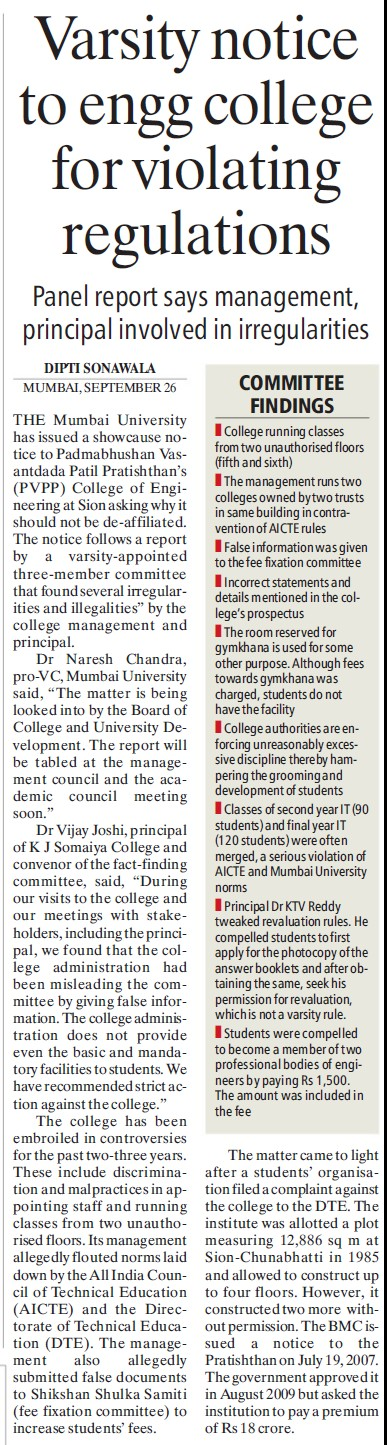 Varsity notice for violating regulations (University of Mumbai (UoM))