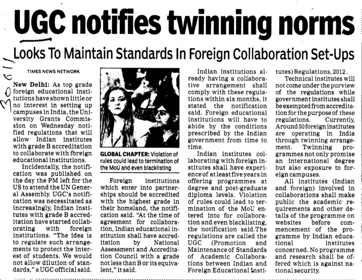 UGC notifies twinning norms (University Grants Commission (UGC))