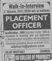 Placement Officer (ISF College of Pharmacy)