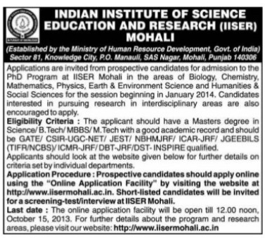 PhD in Biology and Chemistry (Indian Institute of Science Education and Research (IISER))