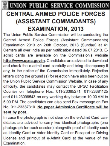 Central Armed Police Forces Examination 2013 (Union Public Service Commission (UPSC))