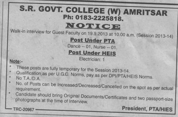 Posy under PTA (SR Government College for Women)