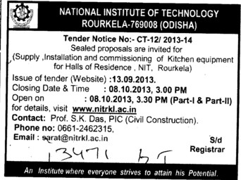 Kitchen equipments (National Institute of Technology (NIT))