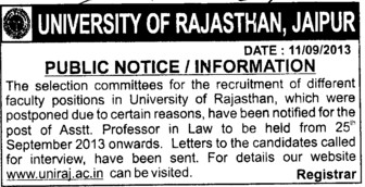 Asstt Professor in law (University of Rajasthan)