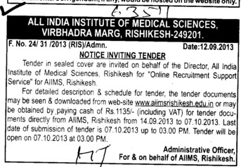 Online recruitment for Support services (All India Institute of Medical Sciences (AIIMS))