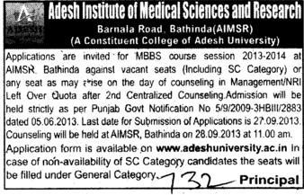 MBBS Course (Adesh Institute of Medical Sciences and Research)