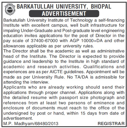 Director on regular basis (Barkatullah University)