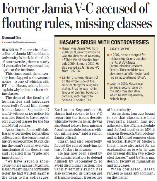 VC accused of flouting rules, missing classes (Jamia Millia Islamia)
