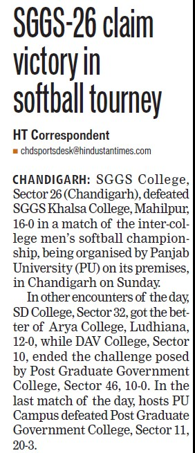 Claim victory in softball tourney (SGGS Khalsa College Sector 26)