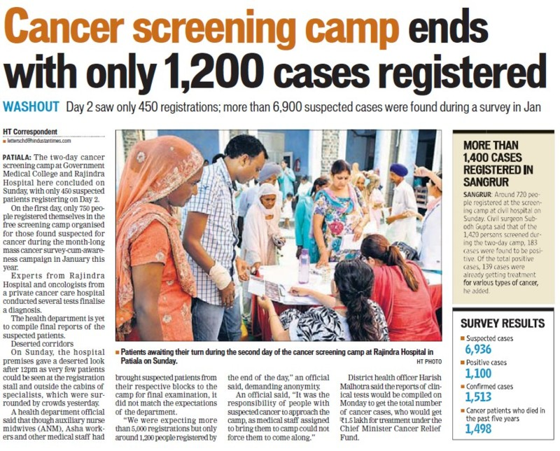 Cancer screening camp ends (Government Medical College and Rajindra Hospital)