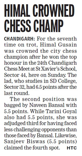 Himal crowned chess champ (GGDSD College)