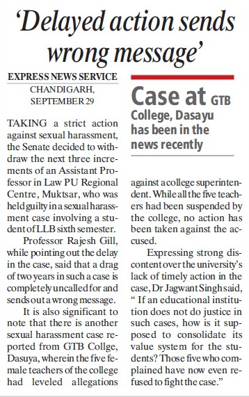 Delayed action sends wrong message (Panjab University Regional Centre, Department of Law)
