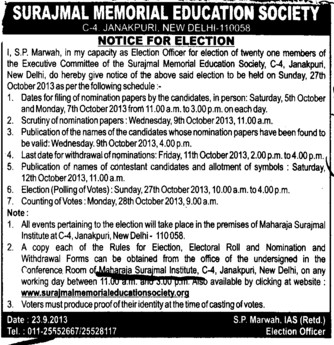 Notice for election of members (Maharaja Surajmal Institute)