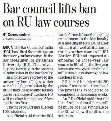 Bar Council lifts ban on RU Law courses (University of Rajasthan)