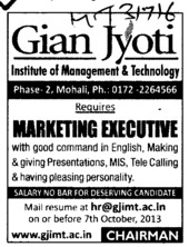 Marketing Executive (Gian Jyoti Institute of Management and Technology (GJIMT))