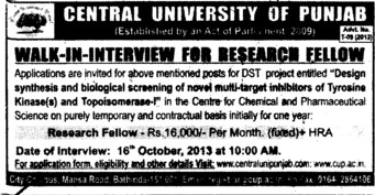Research Fellow (Central University of Punjab)