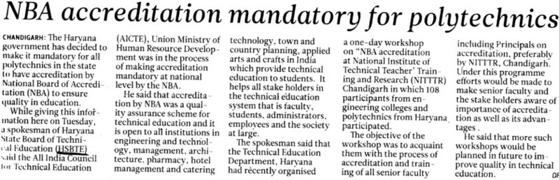 NBA accreditation mandatory for polytechnics (Haryana State Board of Technical Education)