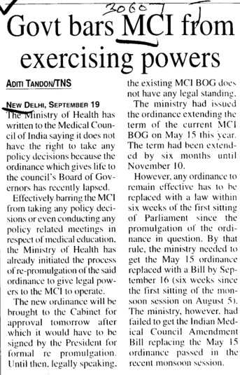 Govt bars MCI from exercising powers (Medical Council of India (MCI))