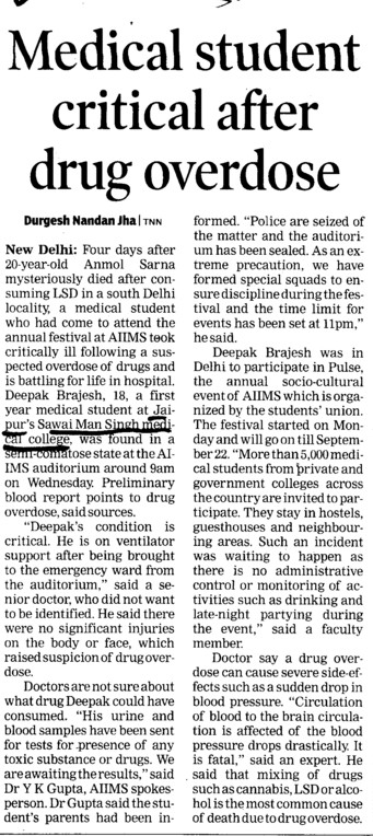 Medical student critical after drug overdose (SMS Medical College)