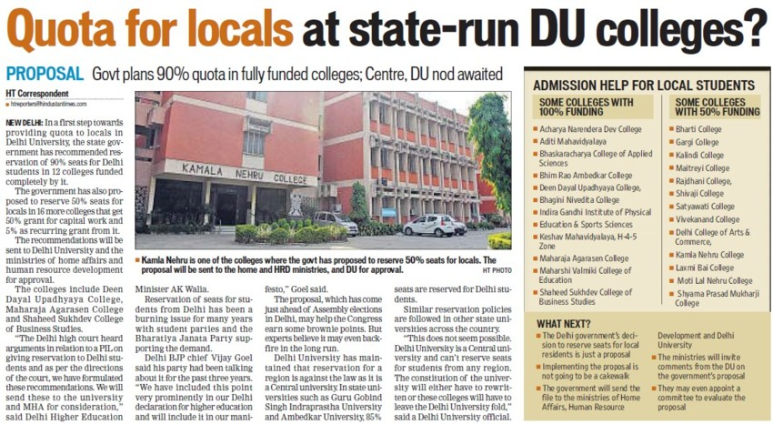 Quota for locals at state run DU colleges (Delhi University)