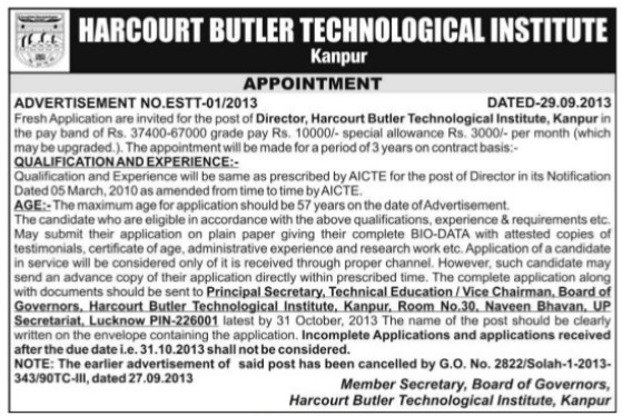 Director on regular basis (Harcourt Butler Technological Institute (HBTI))