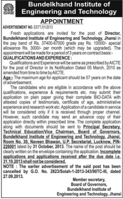 Director for BIET (Bundelkhand Institute of Engineering and Technology)