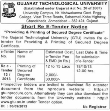 Printing of Secured degree certificate (Gujarat Technological University)