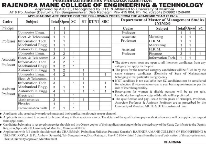 Asstt Professor and Principal (Rajendra Mane College of Engineering and Technology RMCET)