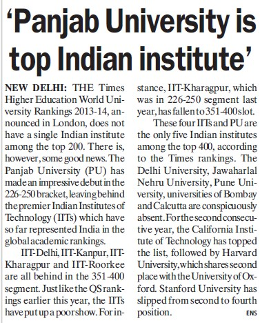 PU elected as top Indian Institute (Panjab University)