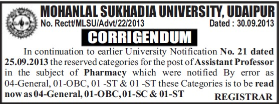 Asstt Professor for Pharmacy (Mohanlal Sukhadia University)
