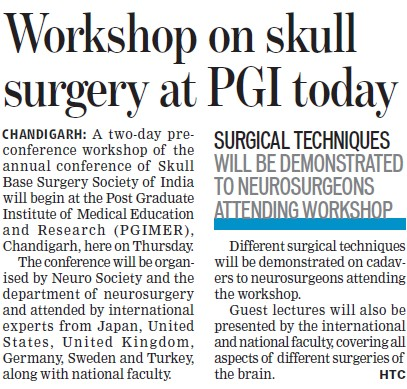 Workshop on Skull surgery at PGI (Post-Graduate Institute of Medical Education and Research (PGIMER))