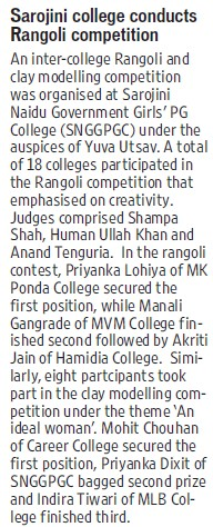 Sarojini College conducts Rangoli competition (Sarojini Naidu Government Girls Post Graduate College)