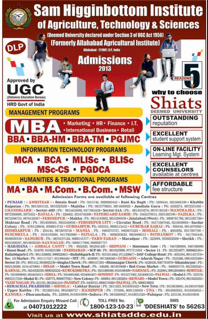 PGJMC and MBA Course (Sam Higginbottom Institute of Agriculture Technology & Science SHIATS)