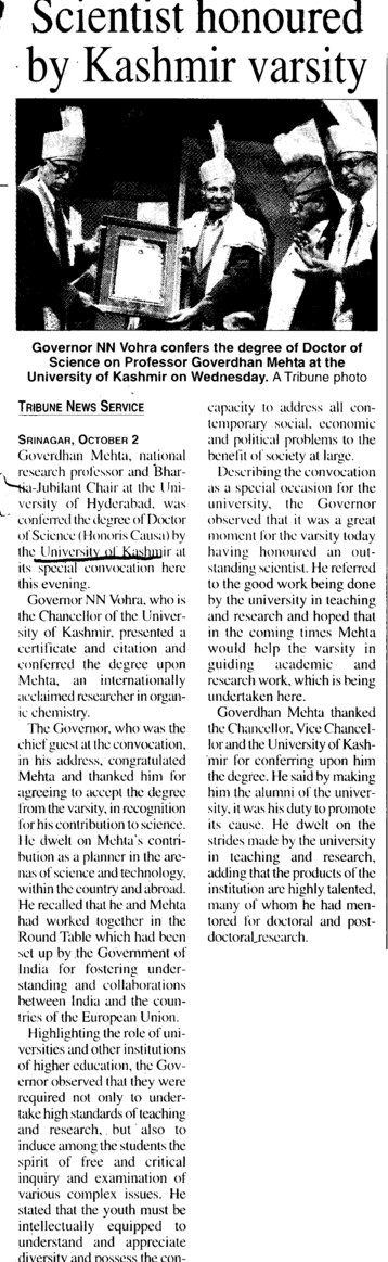 Scientist honoured by Kashmir Varsity (Kashmir University)