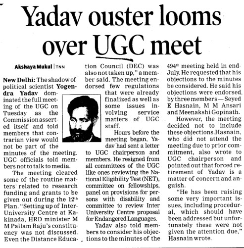 Yadav ouster looms over UGC meet (University Grants Commission (UGC))