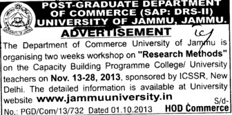 Workshop on Research Method (Jammu University)