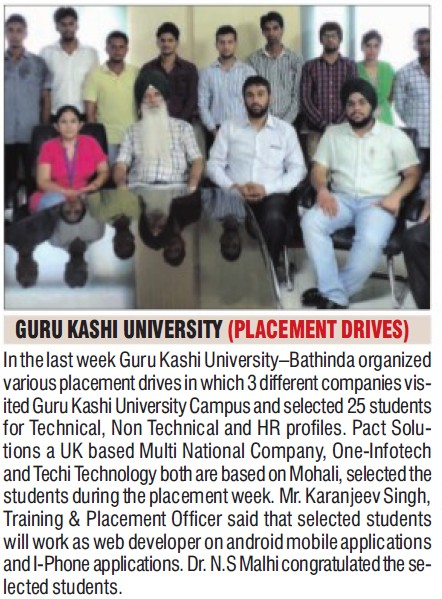 Placement drive held (Guru Kashi University)