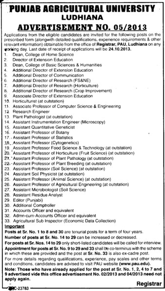 Additional Director of Research (Punjab Agricultural University PAU)