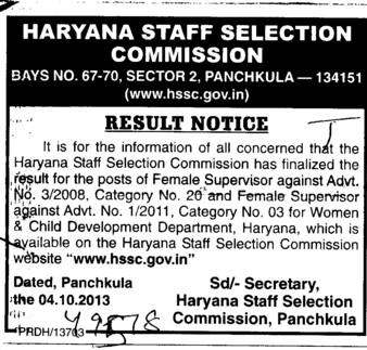 Result of Female Supervisor (Haryana Staff Selection Commission (HSSC))