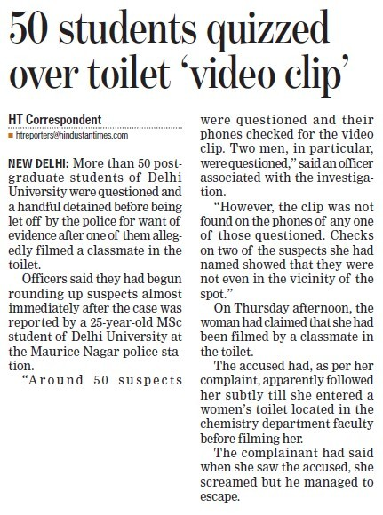 50 students quizzed over toilet video clip (Delhi University)