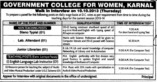 Lab Attendant and Junior Librarian (Government College for Women)