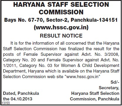 Result Notice for post of Female Supervisor (Haryana Staff Selection Commission (HSSC))