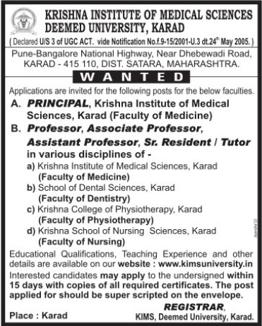Principal and Sr Resident (Krishna Institute of Medical Sciences University KIMS)