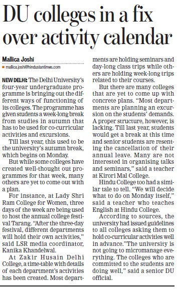 Du Colleges in fix over activity calender (Delhi University)