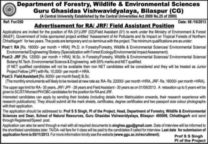 JRF and Field Assistant (Guru Ghasidas University)