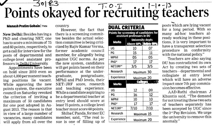 Points okayed for recruiting teachers (Delhi University)
