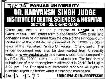 Purchase of Dental and Lab consumable (Dr Harvansh Singh Judge Institute of Dental Sciences and Hospital)