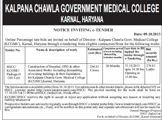 Construction of Hospital (Kalpana Chawla Medical College)