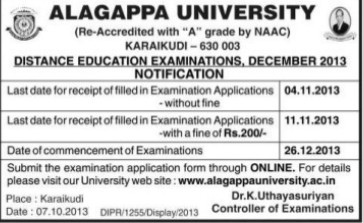 Distance Education Examinations 2013 (Alagappa University)
